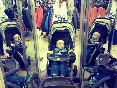Babies,mirrors,dressing rooms,funny