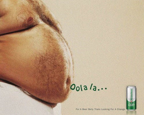 beer ads belly funny