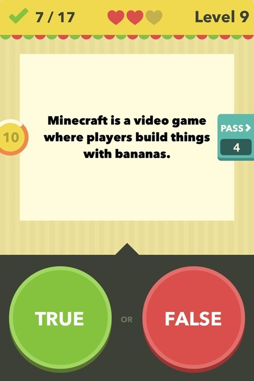 bananas,minecraft,true or false
