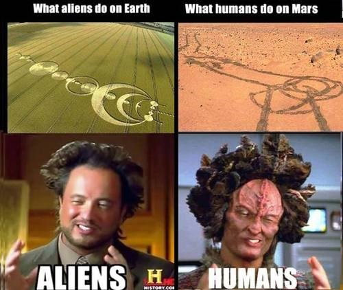 Aliens,humans,crop circles,Mars