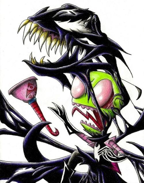 crossover Invader Zim Spider-Man Fan Art Venom - 7667952640