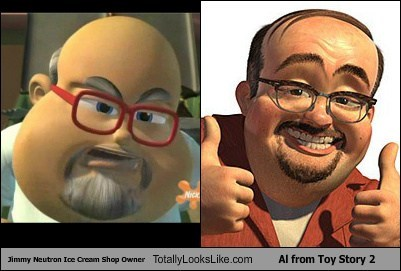 Jimmy Neutron Ice Cream Shop Owner Totally Looks Like Al from Toy Story 2