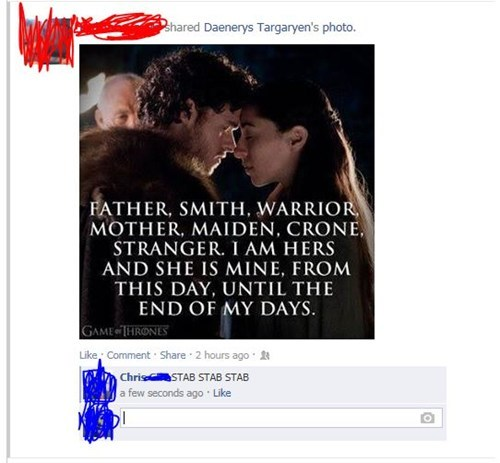 Game of Thrones,Robb Stark,red wedding,failbook,g rated