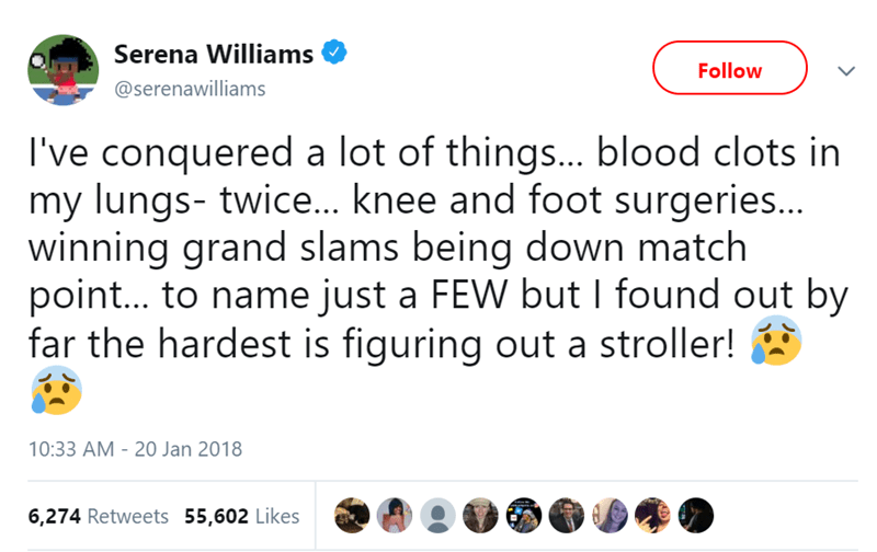 serena williams tweets about parenting