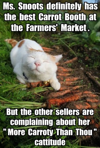 "Ms. Snoots definitely has the best Carrot Booth at the Farmers' Market . But the other sellers are complaining about her "" More Carroty Than Thou "" cattitude"