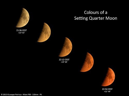 moon colors setting Astronomy science - 7670427648