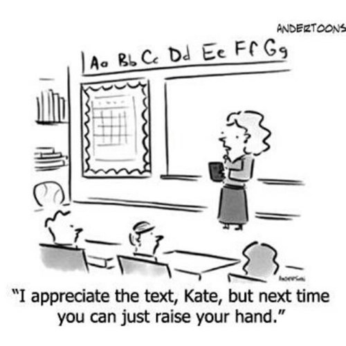 school kids classrooms raise your hand texting funny - 7670486272