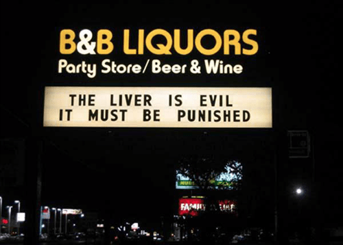 sign liver punished funny