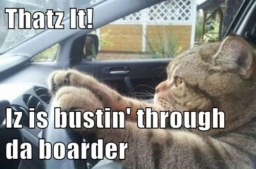 Thatz It!  Iz is bustin' through da boarder