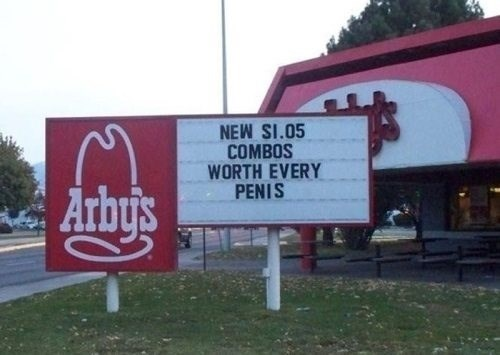 arbys sign accidental sexy spelling funny - 7670867712