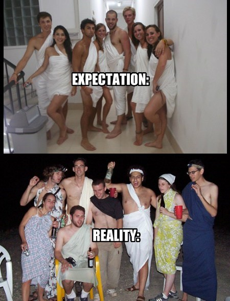 expectations vs reality,toga party,funny,college
