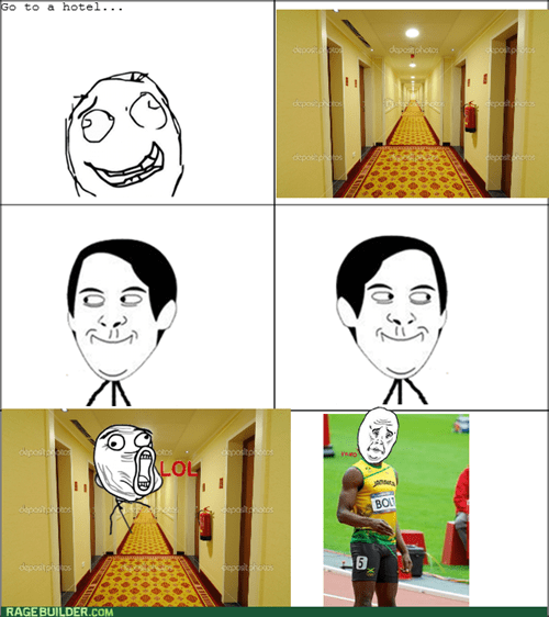 sprinting usain bolt running long hallways hotels - 7671595008