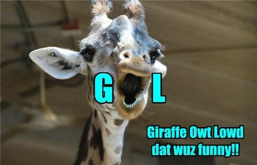 G L Giraffe Owt Lowd dat wuz funny!!