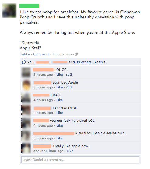 hijacked apple store profile hacked failbook