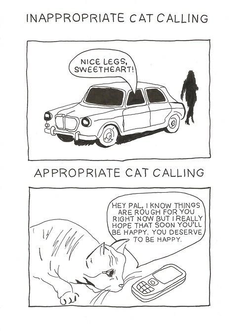 cat calls comic funny - 7674642688