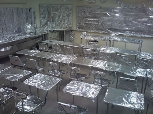 foiled alumni tin foil prank school pranks aluminum pranks - 7675003392