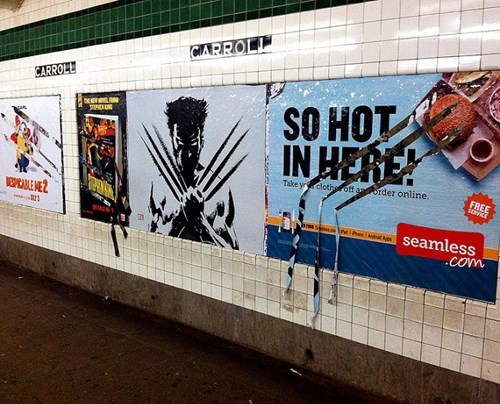 sign,advertisement,nerdgasm,hacked irl,wolverine,funny