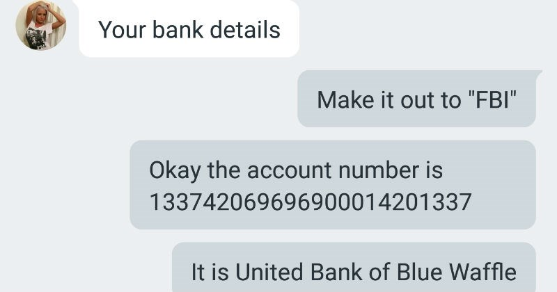 scammer overexposed FAIL trolling text troll lol fraud dumb funny stupid FBI money - 7675653