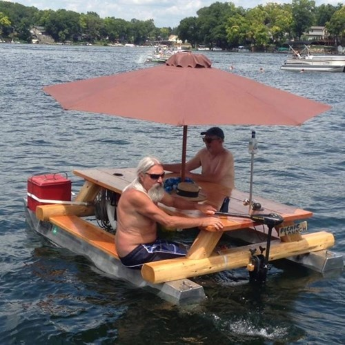 on a boat,brilliant idea,picnic tables,funny,g rated,there I fixed it