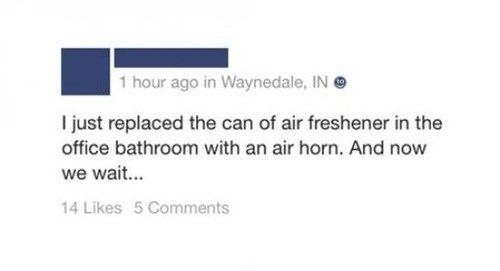 air freshener,office pranks,scared,bathroom