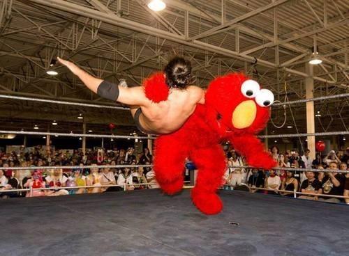 wtf elmo funny wrestling - 7677385728