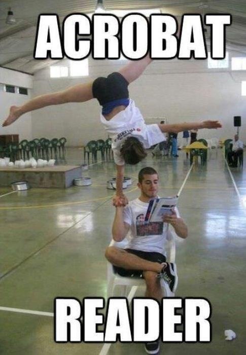 acrobats,acrobat reader,puns,funny