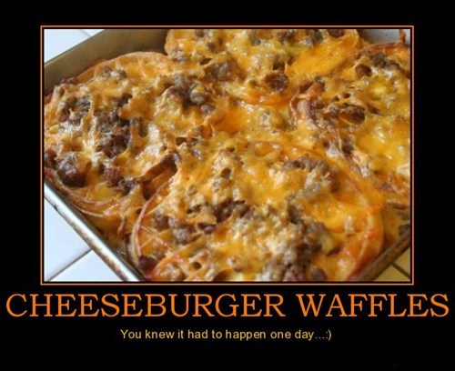 breakfast cheeseburger funny waffles - 7677689088