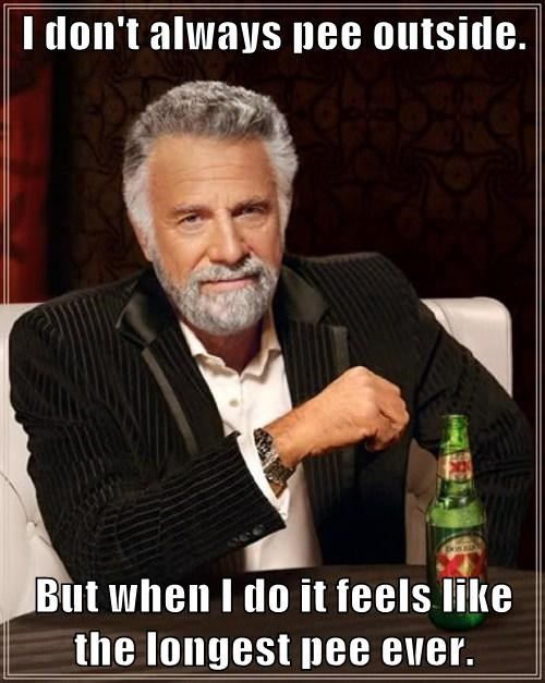 I don't always pee outside.  But when I do it feels like the longest pee ever.