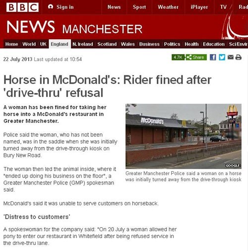 news,McDonald's,funny,weird,fast food,horse