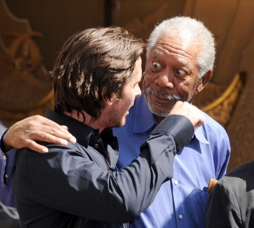 dark knight christian bale Morgan Freeman celeb - 7683421952