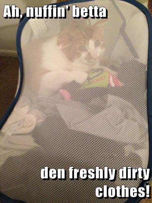 Ah, nuffin' betta  den freshly dirty clothes!