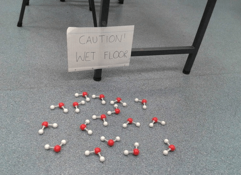 caution,wet floor,molecules