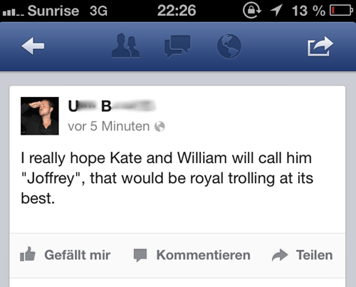 Game of Thrones royal baby joffrey baratheon kate middleton failbook g rated - 7683827456