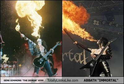 metal,Music,KISS,fire,totally looks like,abbath,Gene Simmons,funny