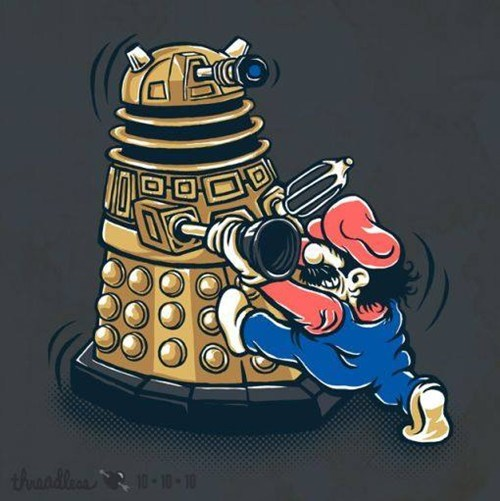 crossover for sale t shirts doctor who Super Mario bros - 7685005824