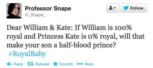 half blood prince,royal baby,snape,funny,g rated,parenting