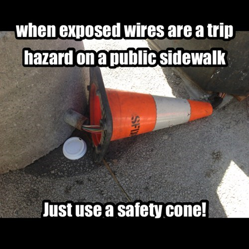 exposed wires,road cones,funny