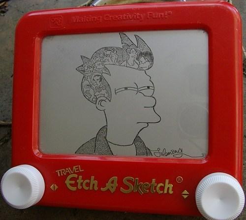 Etch A Sketch nerdgasm Futurama Fry funny - 7688080640