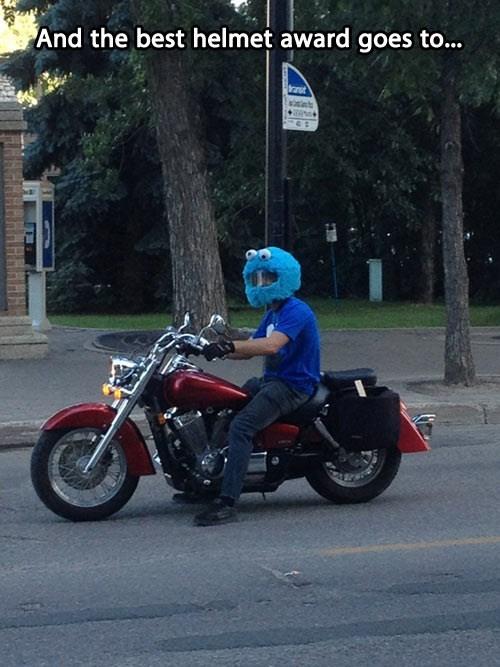 Cookie Monster helmet biker Sesame Street poorly dressed g rated