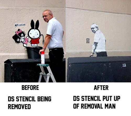 Graffiti Artist Has His Stencil Removed, Re-Does It Depicting the Stencil Remover