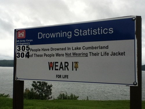 warning sign lake dangerous funny life jackets - 7689077760