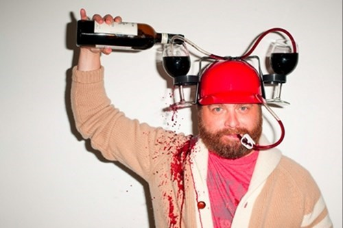 beer helmet Zach Galifianakis wine