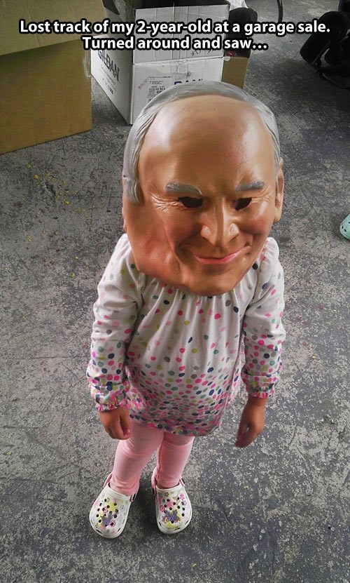 child garage sale mask poorly dressed g rated - 7690658304