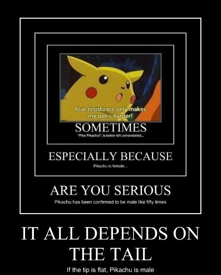 IT ALL DEPENDS ON THE TAIL If the tip is flat, Pikachu is male
