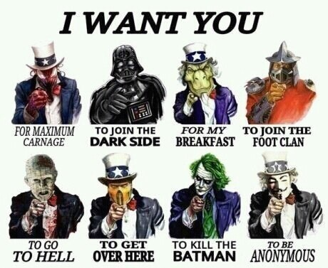 v for vendetta,joker,star wars,carnage,shredder,Pinhead,Uncle Sam