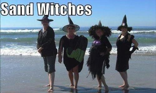 Witches puns beach sandwiches funny