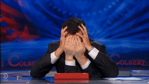 stephen colbert face palm colbert report - 7691340032