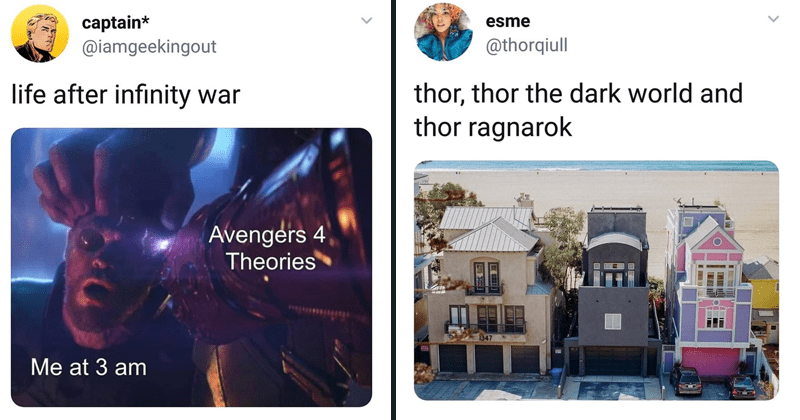 Funny Marvel memes and shitposts, captain america, thanos, bucky barnes, thor, loki.