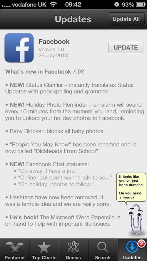 clippy,facebook version 7.0,hashtags,version 7.0,failbook,g rated