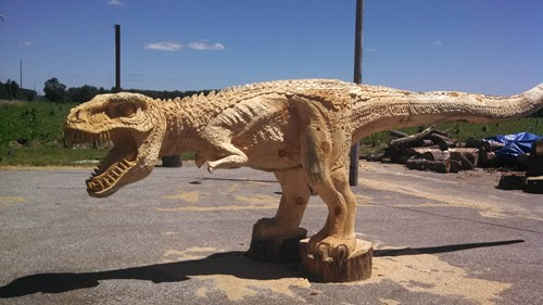 chainsaw carving design funny dinosaurs t rex - 7694379520